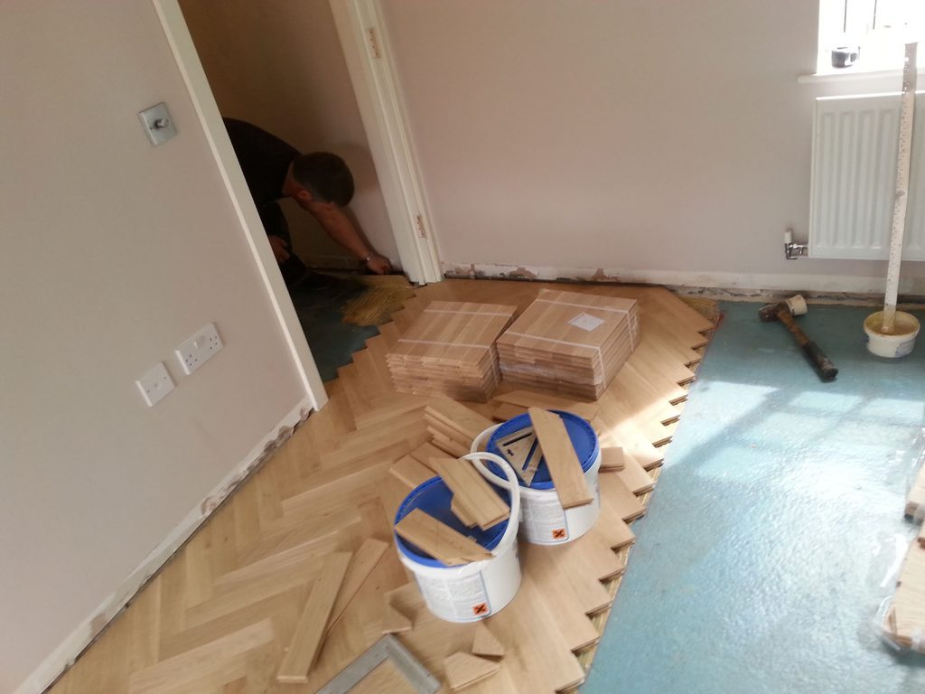 Laying Herringbone Parquet Flooring